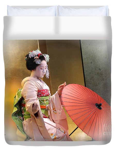 Duvet Cover featuring the photograph Dancing Maiko by Yumi Johnson