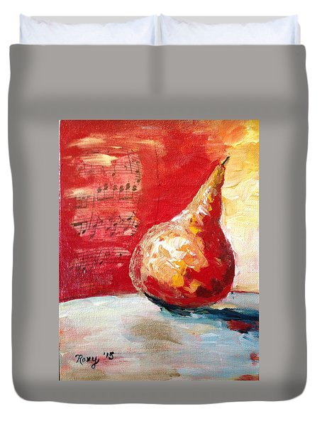 Dancing Pear Duvet Cover by Roxy Rich