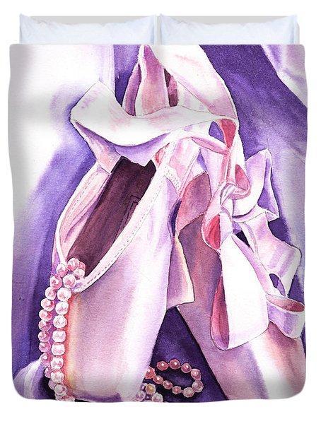 Dancing Pearls Ballet Slippers  Duvet Cover