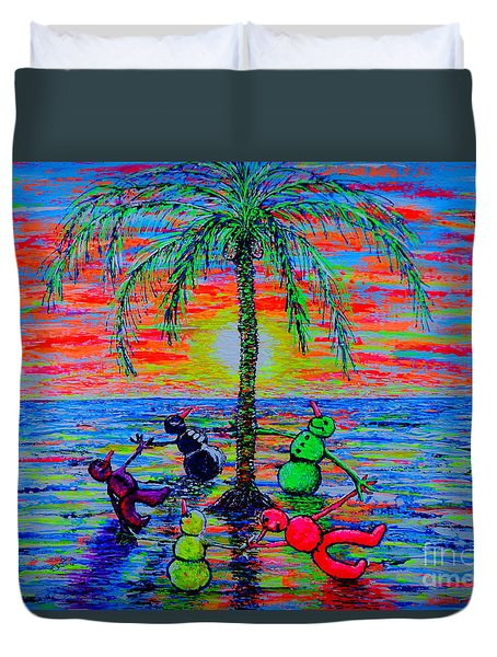 Duvet Cover featuring the painting Dancing Snowman by Viktor Lazarev