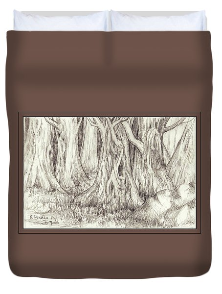 Dancing Trees Duvet Cover by Ruth Renshaw