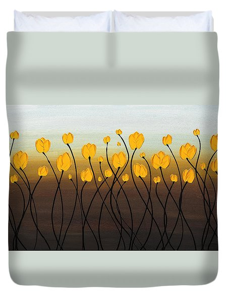 Duvet Cover featuring the painting Dancing Tulips by Carmen Guedez