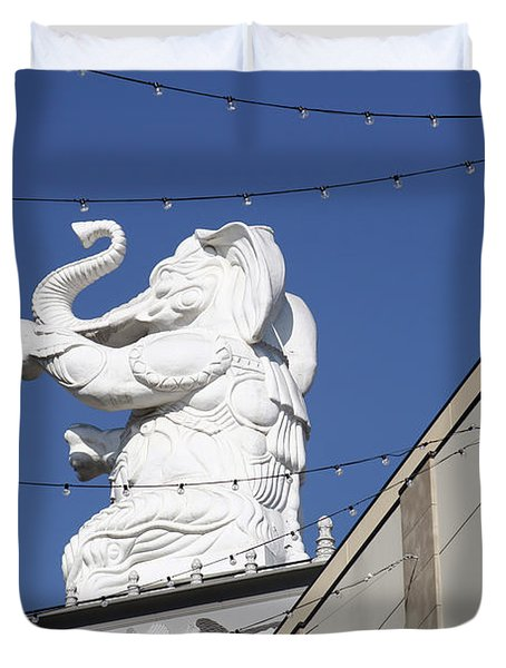 Dancing White Elephant Duvet Cover