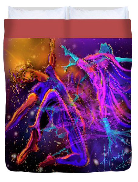 Dancing With The Universe Duvet Cover by DC Langer