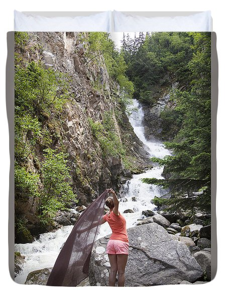 Flying By The Waterfall Duvet Cover