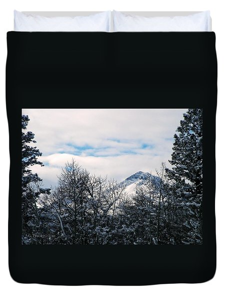Dancing Woman Mountain In The Winter Duvet Cover