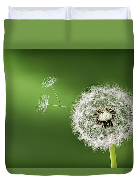 Duvet Cover featuring the photograph Dandelion by Bess Hamiti