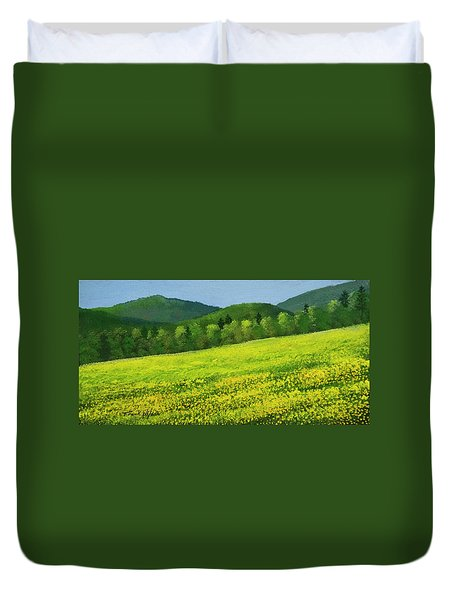 Duvet Cover featuring the painting Dandelion Bloom by Frank Wilson