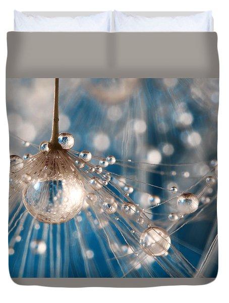 Dandelion Blue Sparkling Drops Duvet Cover