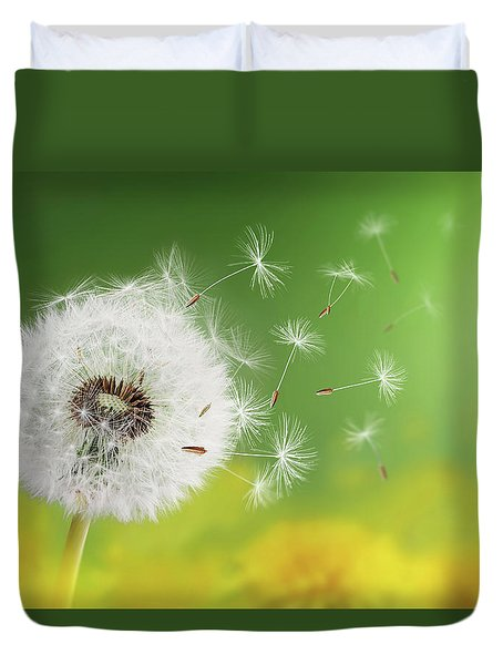 Duvet Cover featuring the photograph Dandelion Clock In Morning by Bess Hamiti