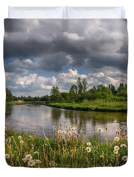 Dandelion Field On The River Bank Duvet Cover