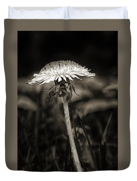 Dandelion In Black And Wite Duvet Cover