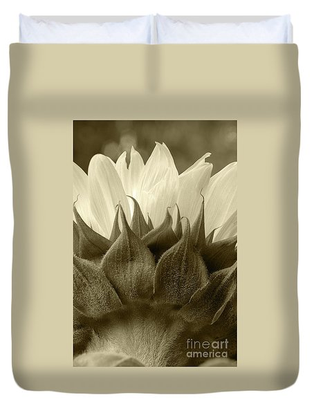 Duvet Cover featuring the photograph Dandelion In Sepia by Micah May