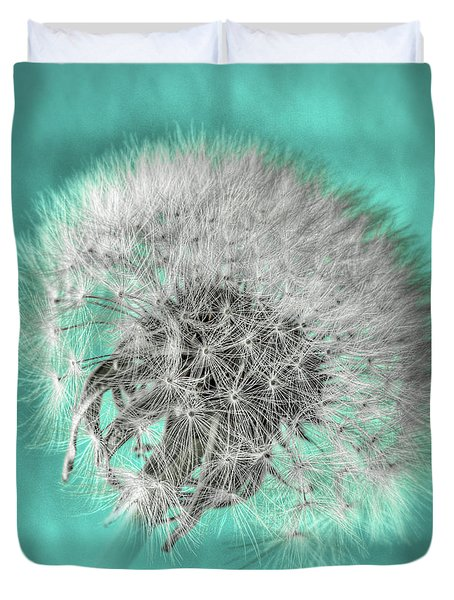 Dandelion In Turquoise Duvet Cover by Tamyra Ayles
