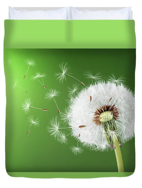Duvet Cover featuring the photograph Dandelion Seeds by Bess Hamiti