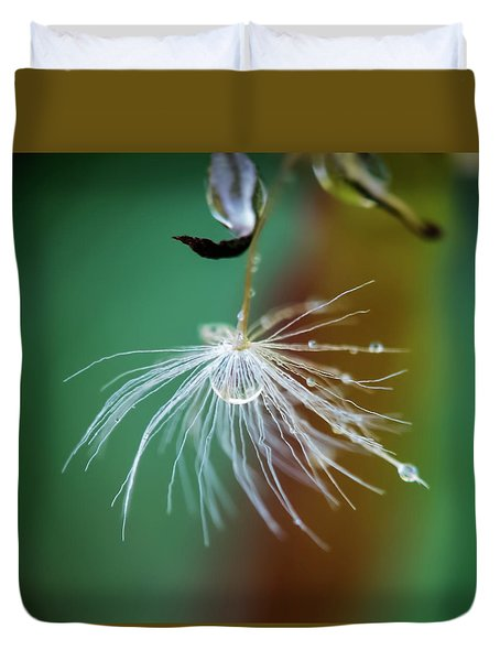 Dandelion Water Drop Macro 2 Duvet Cover