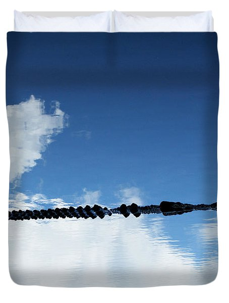 Duvet Cover featuring the photograph Dangerous Reflection Saltwater Crocodile 2 by Gary Crockett