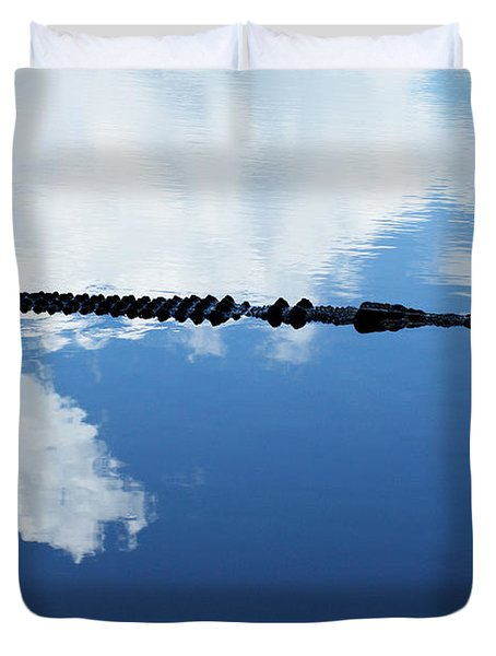 Duvet Cover featuring the photograph Dangerous Reflection Saltwater Crocodile by Gary Crockett