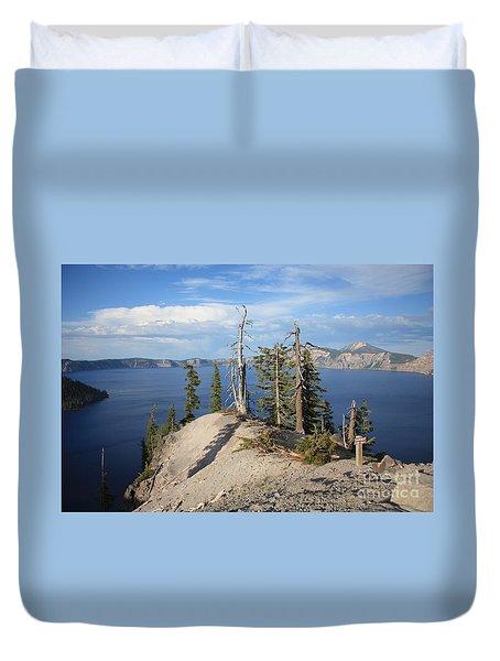 Dangerous Slope At Crater Lake Duvet Cover by Carol Groenen
