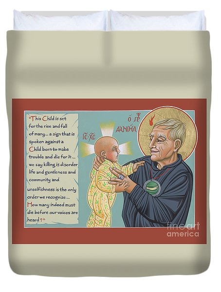 Duvet Cover featuring the painting Holy Prophet Daniel Berrigan 291  by William Hart McNichols