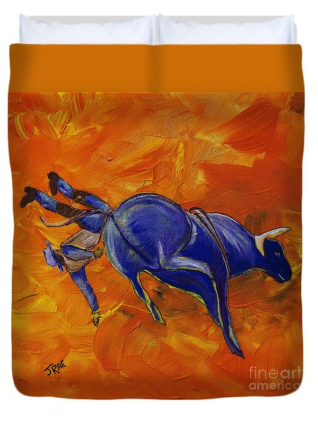 Duvet Cover featuring the painting Danny At The Rodeo by Janice Rae Pariza