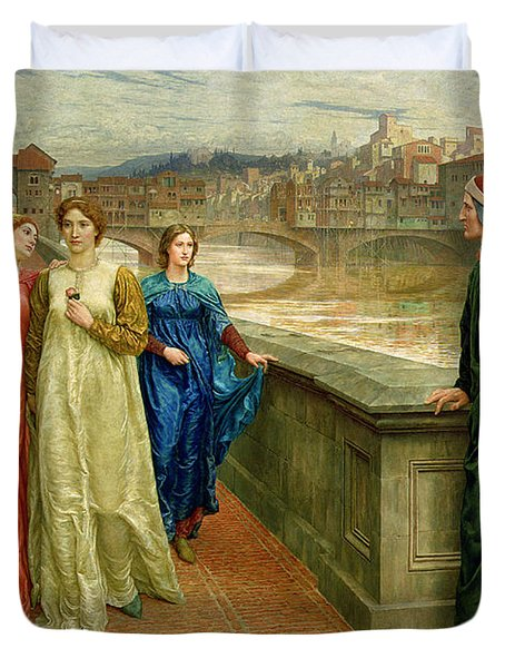 Dante And Beatrice Duvet Cover by Henry Holiday