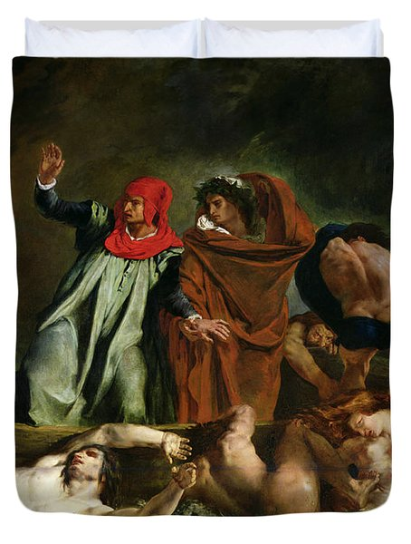 Dante And Virgil In The Underworld Duvet Cover by Ferdinand Victor Eugene Delacroix