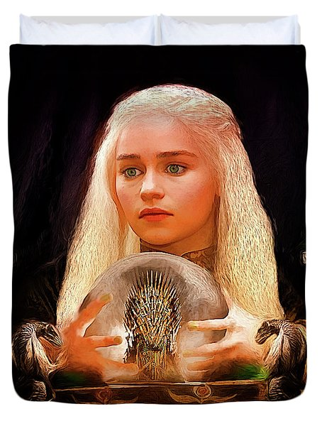 Duvet Cover featuring the painting Dany by Michael Cleere