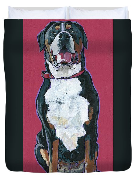 Duvet Cover featuring the painting Darby by Nadi Spencer