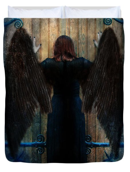 Dark Angel At Church Doors Duvet Cover