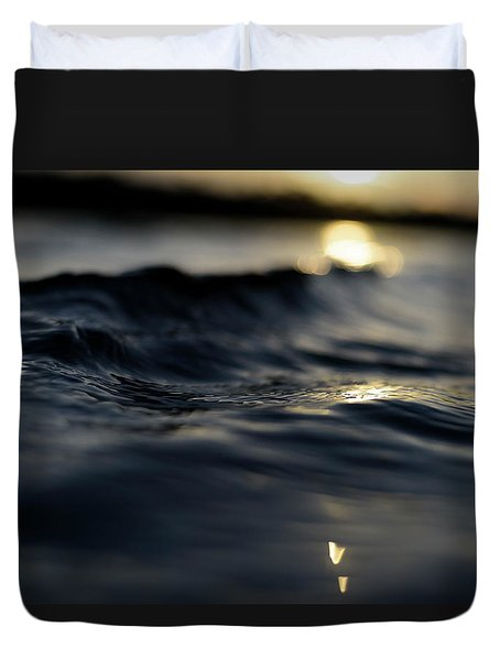 Duvet Cover featuring the photograph Dark Atlantic Traces by Laura Fasulo