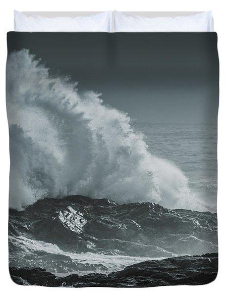 Dark Atmospheric Coastline Duvet Cover