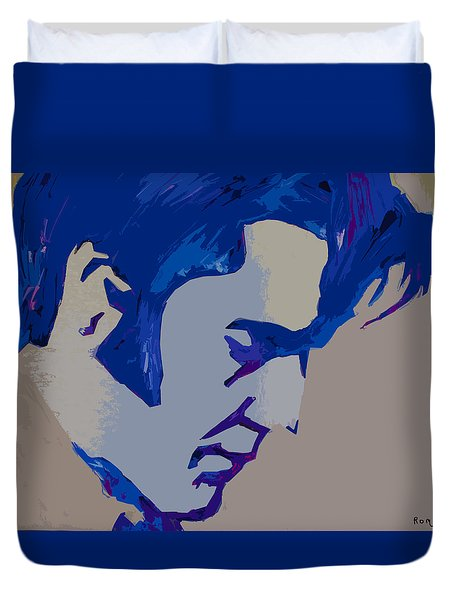 Duvet Cover featuring the painting Dark Blue Elvis by Robert Margetts