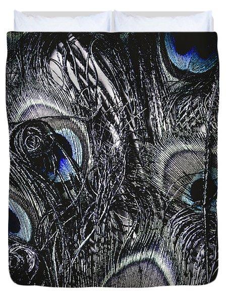 Dark Blue Peacock Feathers  Duvet Cover