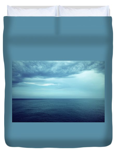 Dark Blue Sea And Stormy Clouds Duvet Cover