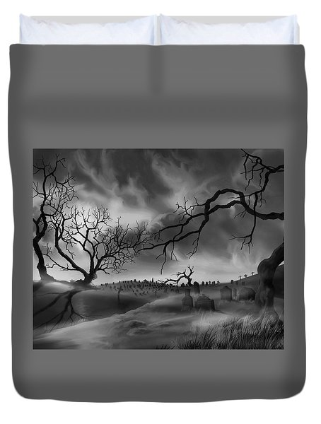 Duvet Cover featuring the painting Dark Cemetary by James Christopher Hill