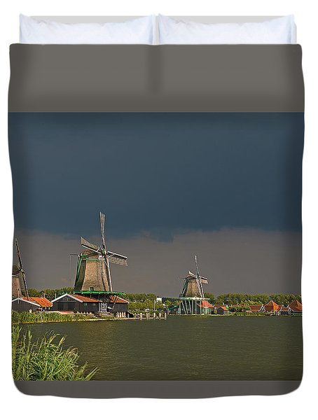 Dark Clouds Above Zaanse Schans Duvet Cover