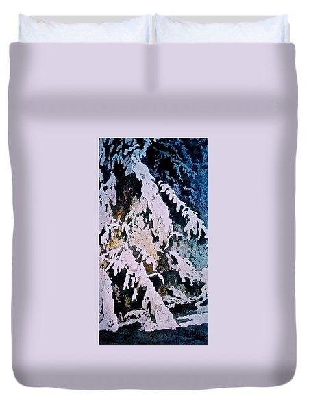 Duvet Cover featuring the painting Dark Cover by Carolyn Rosenberger
