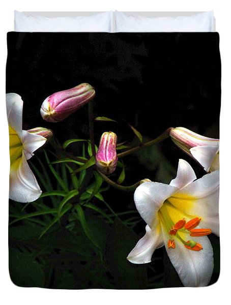 Duvet Cover featuring the photograph Dark Day Bright Lilies by Byron Varvarigos