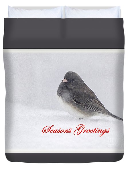Duvet Cover featuring the photograph Dark Eyed Junco Season's Greetings by Rima Biswas
