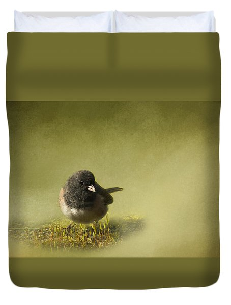 Duvet Cover featuring the photograph Dark-eyed Junko by Inge Riis McDonald