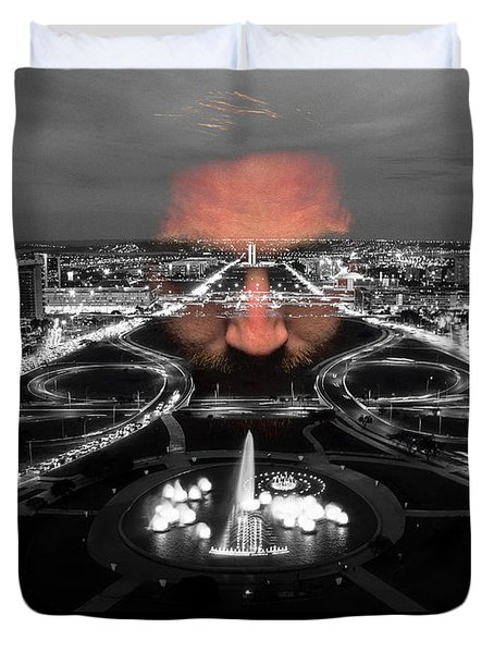 Dark Forces Controlling The City Duvet Cover by ISAW Gallery