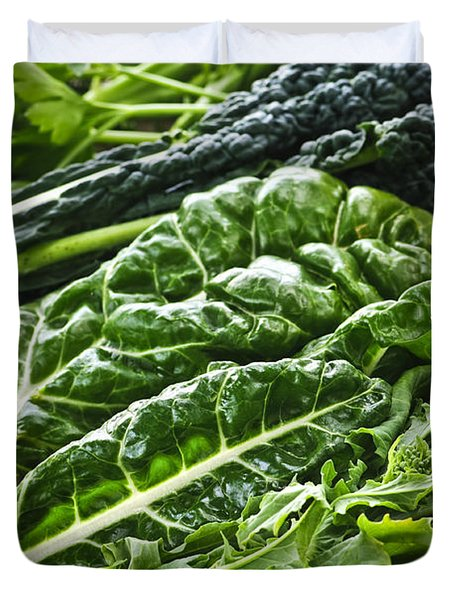 Dark Green Leafy Vegetables Duvet Cover by Elena Elisseeva