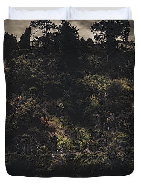 Dark Landscape Photograph Of Distant People Hiking Duvet Cover