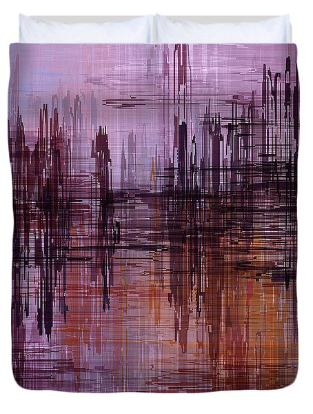 Duvet Cover featuring the painting Dark Lines Abstract And Minimalist Painting by Ayse Deniz