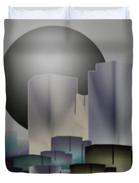 Duvet Cover featuring the digital art Dark Moon Over The City by John Krakora