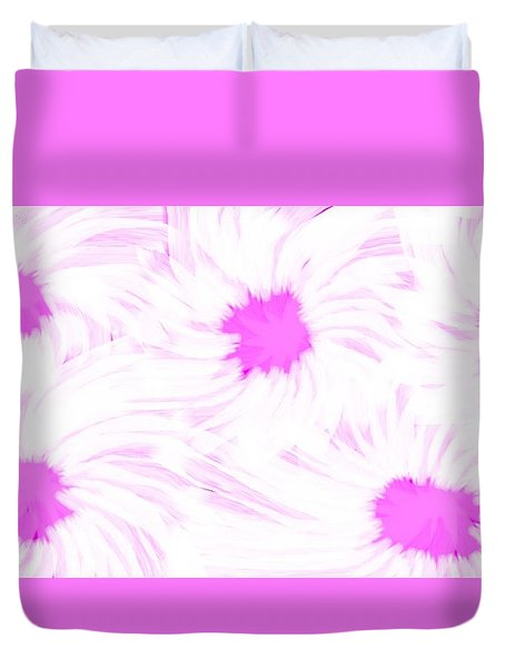 'dark Pink And White Flower Abstract' Duvet Cover