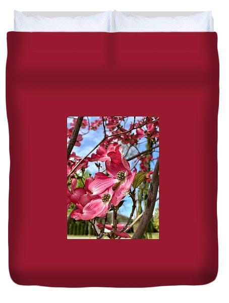 Dark Pink Dogwood Flowers Duvet Cover