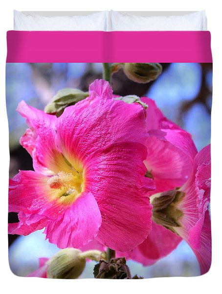Duvet Cover featuring the photograph Dark Pink Hollyhock 2 by M Diane Bonaparte