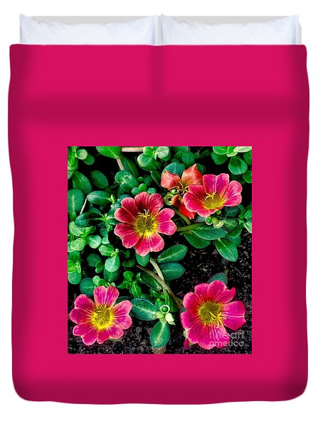 Dark Pink Purselane Flowers Duvet Cover